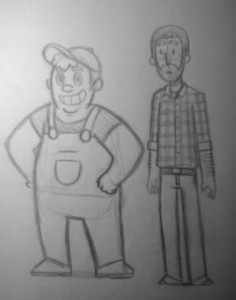 Concept art for two background residents of Mush-A-Mush!